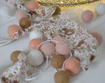 Cloth garland and felt balls