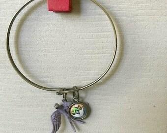 Vintage Cookie Tin/Lavender Sparrow Charm Bracelet
