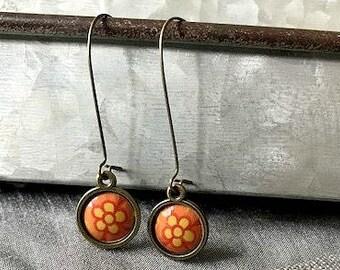 Orangey Orange Flower Vintage Cookie Tin Chandeliers