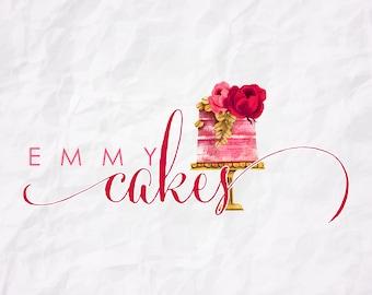 Premade Logo Design-Cake Logo-Watercolor Logo-Bakery Logo-Watermark-Cakes-Logo Design-Hand Drawn-Custom Logo Design-Logo