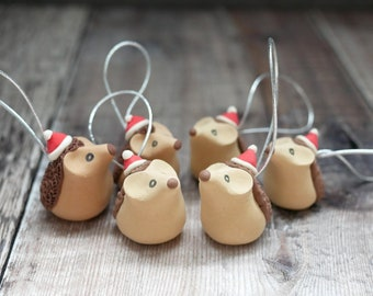 Hedgehog Christmas Tree Decorations - Handmade Gift Wildlife and Animal Inspired Ornament With Eco Friendly, Plastic Free Packaging
