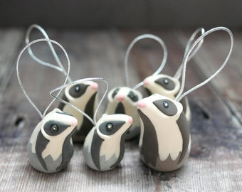 Badger Christmas Tree Decorations - Handmade Gift Wildlife and Animal Inspired Ornament With Eco Friendly, Plastic Free Packaging