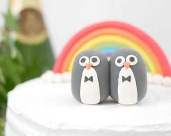 Handmade Penguin Gay Wedding Animal Cake Topper - Made To Order - With Eco Friendly, Plastic Free Packaging