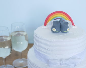 Grey Lesbian Elephant Wedding Cake Topper (With or Without Rainbow)
