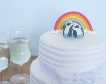 Hugging Badgers Wedding Cake Topper (With or Without Rainbow)