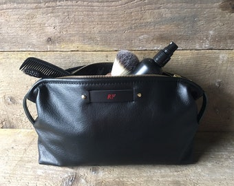 Black Leather Personalised Wash Bag 2639b0439fc1c