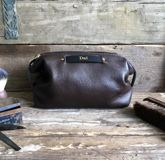 5c1f9383b4a Christmas Gift For Men Personalised Leather Toiletry Bag   Etsy