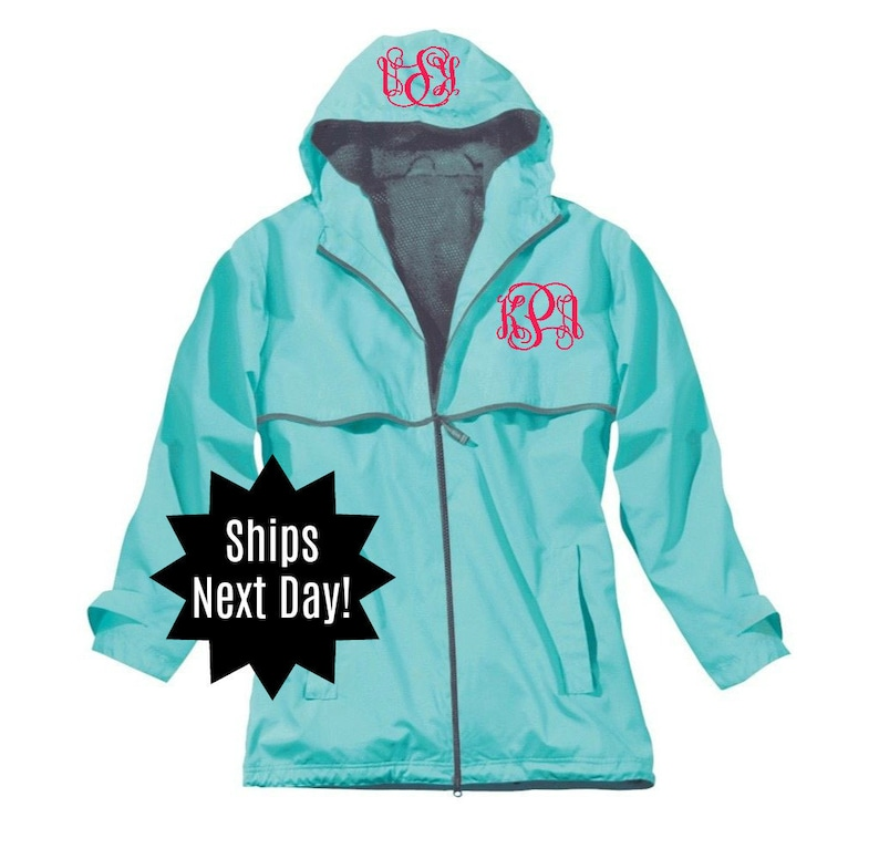 dbeac0cb1 Next Day Shipping Charles River Monogrammed Rain Jacket Monogrammed New  Englander Jacket Monogrammed Rain Coat Personalized Rain Jacket