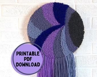 Punch Needle Pattern Purple Wave, Punch Needle Rug Hooking Pattern, PDF Punch Needle Pattern for Download