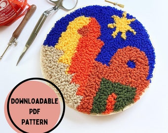 Punch Needle Star Night Pattern, Punch Needle Rug Hooking Pattern, PDF Punch Needle Pattern for Download