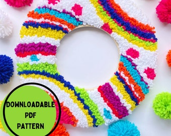 Punch Needle Rainbow Pattern, Punch Needle Rug Hooking Pattern, PDF Punch Needle Pattern for Download