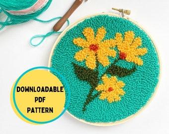 Punch Needle Flower Pattern, Punch Needle Rug Hooking Pattern, PDF Punch Needle Pattern for Download