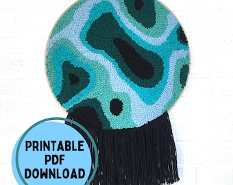 Punch Needle Topographical Pattern, Punch Needle Rug Hooking Pattern, PDF Punch Needle Pattern for Download