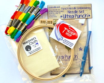 Complete Ultra Punch Needle Kit, Beginners Punch Needle Embroidery Kit with Weavers Cloth and Morgan No Slip Hoop