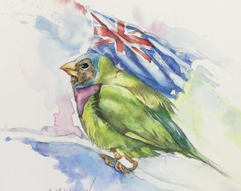 New Zealand Flag and Little Bird - Original Watercolor Painting