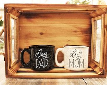 Dog Mom & Dad Campfire Mug Set // Campfire Mug // Gift // Dog Parents //  12 Oz. Speckled Campfire Stoneware Mugs
