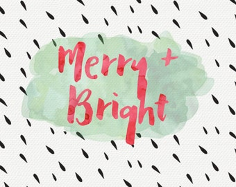 Merry and bright red and green watercolor card