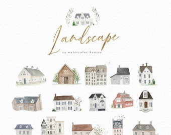 Watercolor icon cliparts-Landscape/Small Set/Individual PNG files/Digital Planner Stickers/ Planner Icon Clipart /House