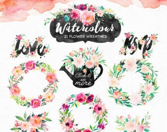 20%Off-Watercolor DIY pack Vol.4/Wedding/Clip art collection/15 Pre-designed logos/Seamless pattern/Individual PNG files/Hand Painted