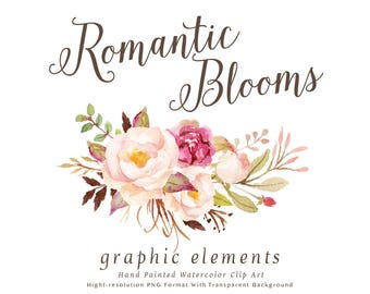 Watercolor Floral Clip Art Romantic Blooms Graphic Elements Individual PNG Files Hand Painted Wedding Design Rustic
