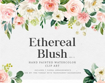 Watercolor floral clip art-Ethereal Blush VOL.2/Clip art/Small Set/Individual PNG files/Hand Painted/wedding/Femine