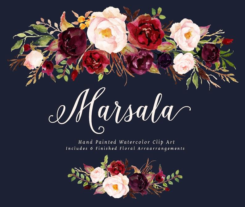 Watercolor floral Clip Art-Marsala/Small Set/Individual PNG image 1
