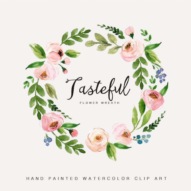Watercolor Flower Wreath Clipart Tasteful Hand Painted Wedding Etsy