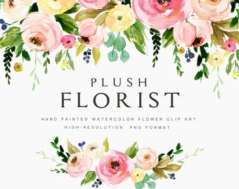 Watercolor flower clipart-Plush Florist/Small Set/Individual PNG files/Hand Painted/wedding