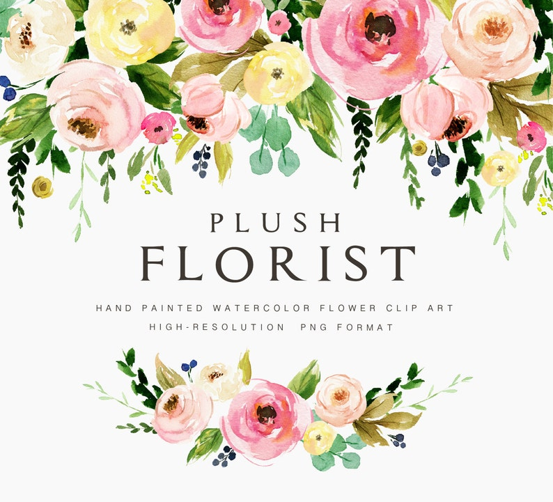 Watercolor flower clipart-Plush Florist/Small Set/Individual image 0
