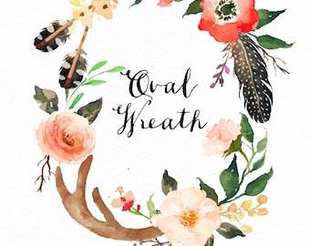 Watercolor oval wreath/Antler/Wild/Boho