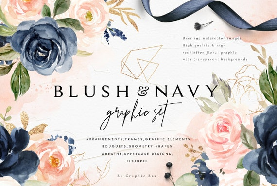 Blush Navy Watercolor Graphic Setweddingclip Art Etsy