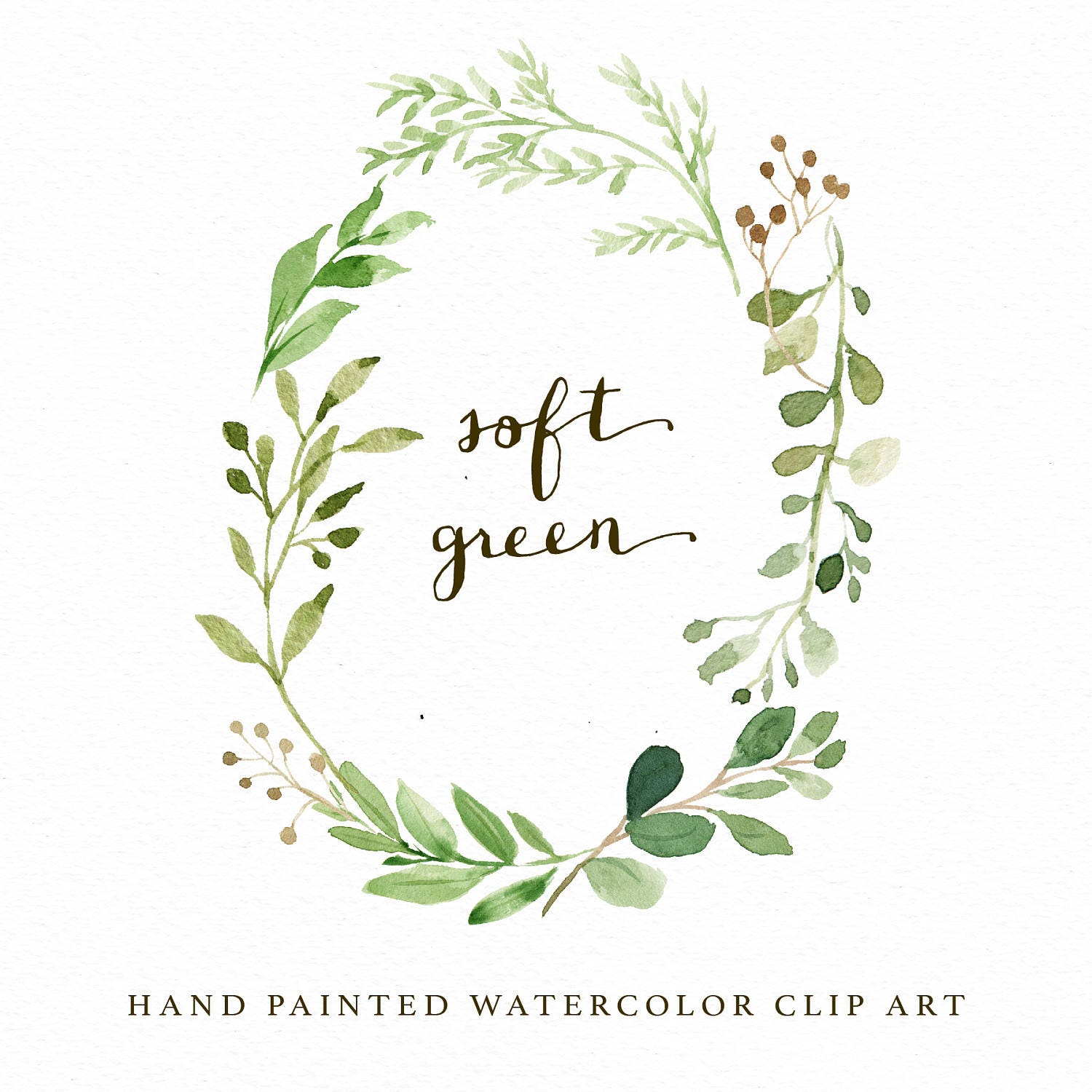 watercolor oval leaf wreath clip art soft green individual png etsy