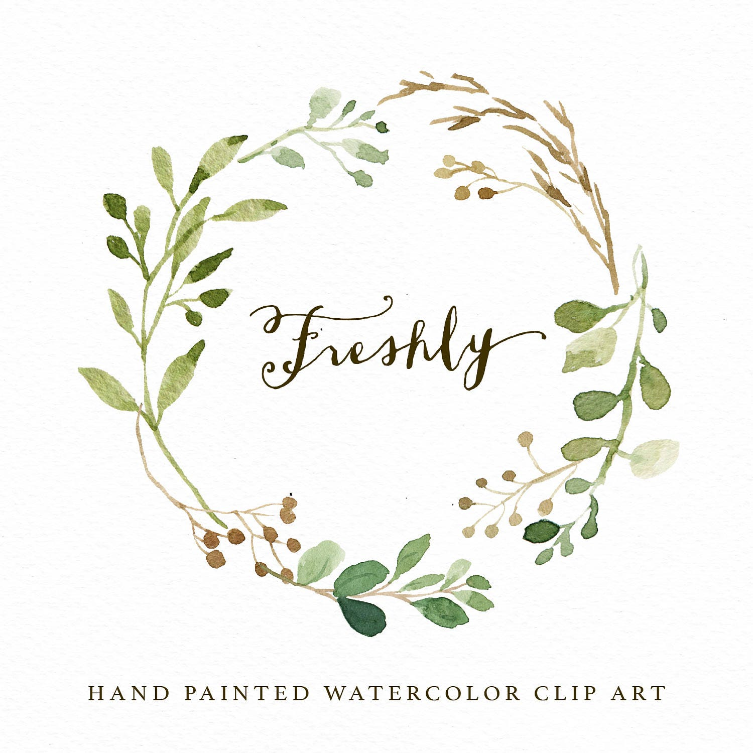watercolor leaf wreath clipart freshly hand painted wedding etsy