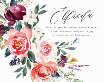 Watercolor floral clip art-Elfreda/Small Set/Wedding/Individual PNG files/Hand Painted/wedding invitation/Autum