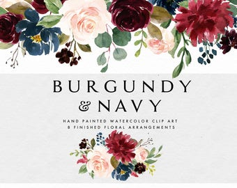 Watercolor floral Clip Art-Burgundy&Navy/Individual PNG files/Hand Painted/Wedding design/Autumn/Rustic