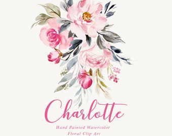 Watercolor flower clipart-Charlotte/Small Set/Individual PNG files/Hand Painted/wedding
