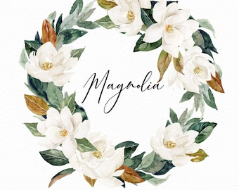 Watercolor flower wreath-Magnolia/Small Set/Individual PNG files/Hand Painted/Wedding design