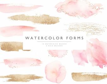 Watercolor forms-Blush & gold/watercolor washes/Individual PNG files/Brush