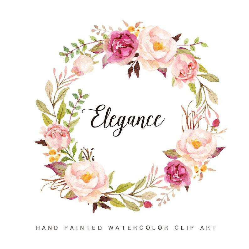 Flower Wreaths For Weddings: Watercolor Floral Wreath-Elegance/Individual PNG Files