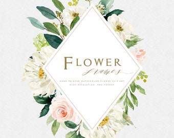 Watercolor flower frames-Blush/Small Set/Wedding/Clip art collection/Individual PNG files/Hand Painted/wedding invitation/Femine