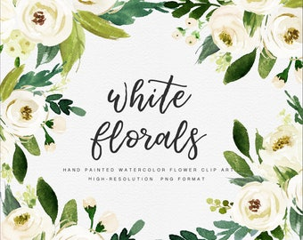 White Flower/Small Set/Individual PNG files/Hand Painted/Wedding design/Bohemian/Rustic