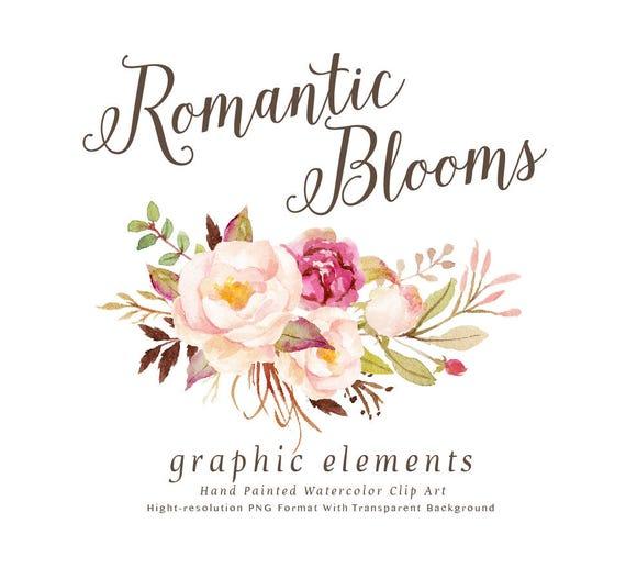 Aquarell Blumen Clip Art-romantischen Blüten grafische | Etsy