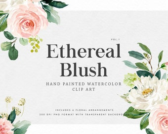 Watercolor floral clip art-Ethereal Blush VOL.1/Small Set/Wedding/Individual PNG files/Hand Painted/wedding invitation/Femine