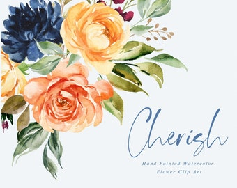 Cherish-Watercolor floral clip art/Small Set/Individual PNG files/Hand Painted/Wedding design
