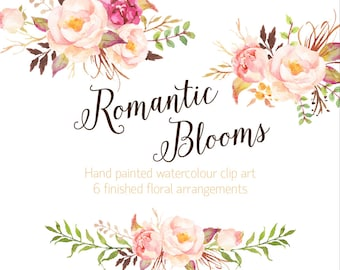 Romantic Blooms Watercolour Clip Art/Small Set/Rose/Individual PNG files/Hand Painted