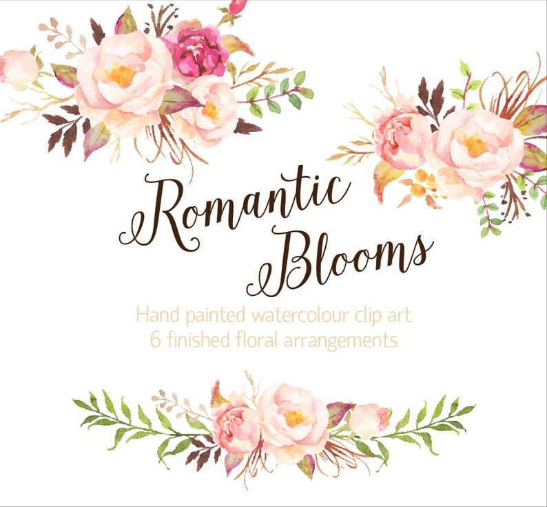 b05d1ce26f6 Romantic Blooms Watercolour Clip Art Rose Individual PNG