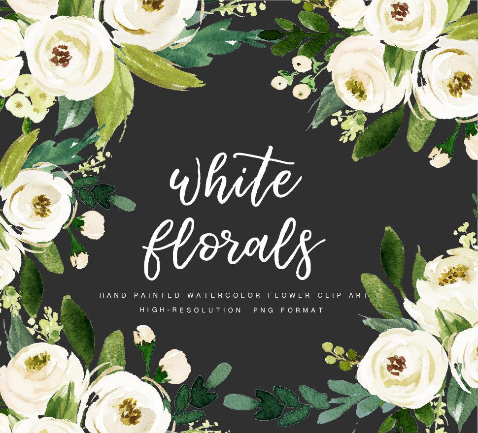 Watercolor Floral Clip Art White Flowerindividual Png Etsy