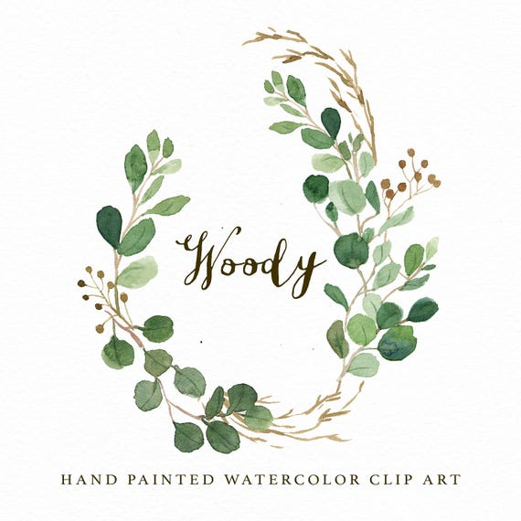 watercolor oval leaf wreath clip art woody individual png etsy