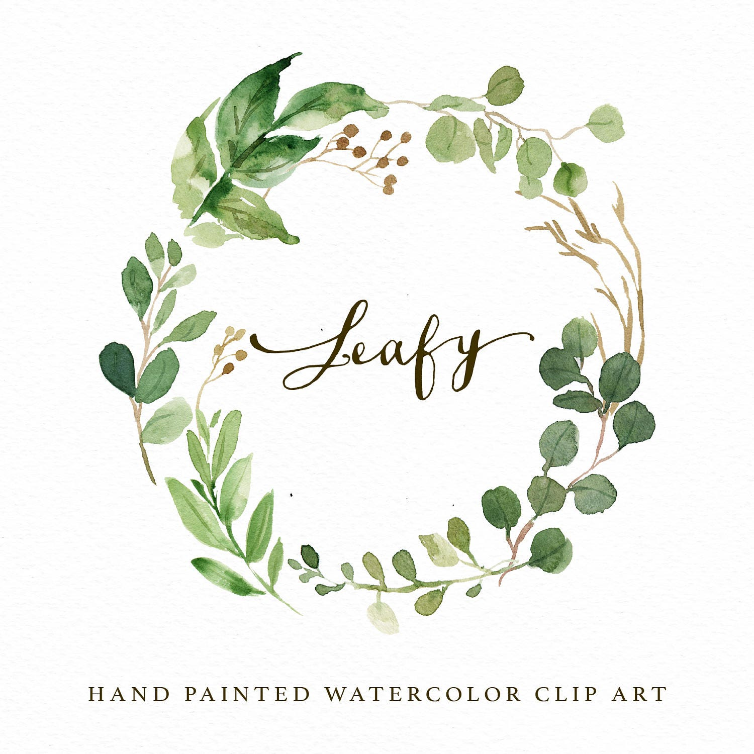 watercolor leaf wreath clipart leafy hand painted wedding etsy