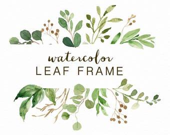 Watercolor Leaf frame/leaves/wedding invitation/Small Set/clipart/ Eucalyptus/Wild Leaf/Spring/Green